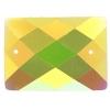 Glitter Sew-on Stone 10pcs Rectangle 18x25mm Yellow Aurora Borealis